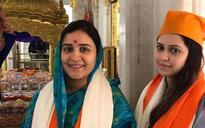 Patna: Aparna Yadav pays a visit to Harmandir Sahib Gurudwara