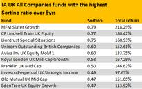 Which UK funds top the tables for the Sortino ratio?