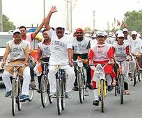 Cong MLA cycles from Rajkot to Abad to... Cong MLA cycles from Rajkot to Abad to protest against price rise