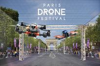 Drones take over Champs-Elysees in Paris