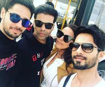 SELFIE ALERT: Karan Johar, Shahid Kapoor, Sidharth Malhotra and Neha Dhupia are a 'sunglass' gang