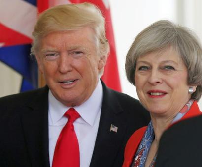 Trump meets May in 1st summit with foreign leader