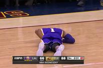 LeBron James hit D'Angelo Russell directly in the groin with a pass