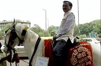 BJP MP Ram Prasad Sharma Rides A Horse To Parliament To Mark His Protest Against OddEven