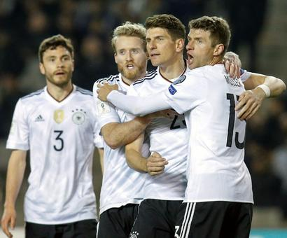 PHOTOS: Germany crush Azerbaijan, England struggle to victory