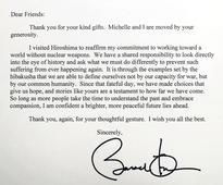 Letter of thanks from Obama to Hiroshima