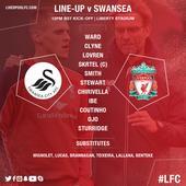Starting line-ups: Swansea V Liverpool