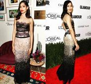 Freida Pinto wows in lace and red pout at Glamour Awards 2016
