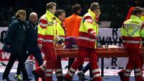 Stoke and England goalkeeper Jack Butland off of crutches