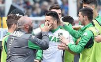Sassuolo stay in Europa hunt with Torino win  Sassuolo's forward Nicola Sansone celebrates after scoring a goal ...