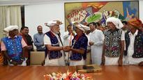 In pictures: Tribal group from rural Dahod in Gujarat meet Narendra Modi in Delhi