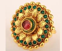 Red N Green Stone Studded Ring in Golden