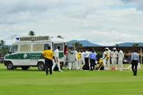 Umpire Ward stable after being struck on head