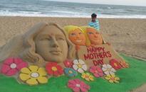 Sand artist Manas Kumar Sahoo creates sand sculpture On the eve of Mother's Day