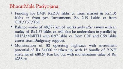 Centre announces BharatMala road building programme