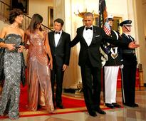 See Michelle Obama's Stunning State Dinner Versace Gown