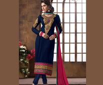 Embroidered Straight Cut Georgette Suit In Dark Blue