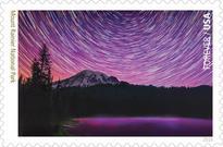 Mt. Rainier image on forever stamp