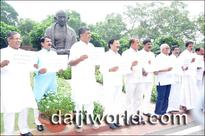 State Cong MPs stage protest in parliament premises demanding MSP