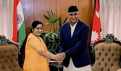 Swaraj calls on Nepal's President Bhandari, PM Deuba