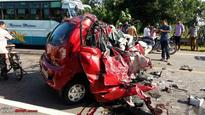 Overtaking gone wrong, Tata Nano ends up colliding head-on with a truck