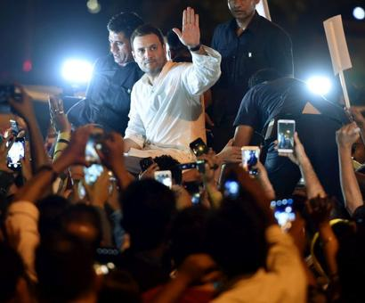 Rahul Gandhi leads midnight march to protest Unnao, Kathua rape cases