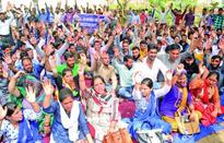 MGNREGA employees stage protest on second consecutive day