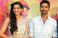 Sonam translating Hindi questions for Dhanush