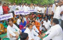Telangana land oustees on relay fast