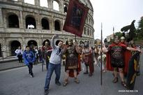 People celebrate Birth of Rome with parades in costume