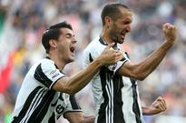 Chiellini marks landmark outing with goal as J... Giorgio Chiellini celebrates with teammate Alvaro Morata after scoring again...