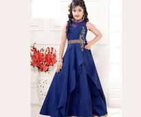 Embroidered Art Silk Gown in Dark Blue For Kids