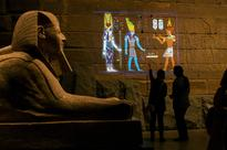 Projection mapping reveals colours of Egyptian...