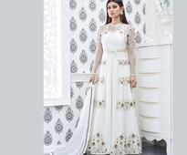Hand Embroidered Anarkali Viscose Georgette Suit in White