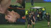 'They're very worried about the head': Aaron Cruden stretchered off field with suspected neck injury
