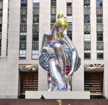 Giant inflatable ballerina takes over New York's Rockefeller Center