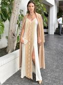 Alessandra Ambrosio stuns in white snakeskin print gown at CFDA party