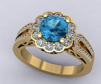 Stone Studded Adjustable Ring In Blue N White