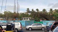 Piling rig tilts near Maratha Mandir at Metro 3 work site