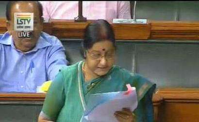 Sushma back in Lok Sabha, pitches for safety of Indians in US