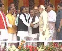 Modi meets Mulayam, Akhilesh at Yogi's oath taking
