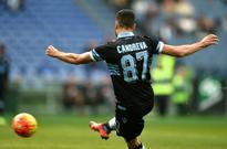Lazio's Candreva just escapes flare in trouble-hit Palermo clash