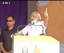 During his address at 'Vikasparv rally' in Davangere, Prime Minister Modi said the entire nation is now pitching for a Congress free India.