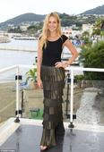 Petra Nemcova manages to make a rain-soaked Italian landscape look picture-perfect as she stuns at Ischia Film Festival