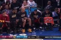 LeBron, Kyrie Irving and the Cavs bench played water bottle flipping game during blowout of Knicks