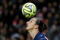 Is Zlatan Ibrahimovic headed for the L.A. Gala... Paris St Germain's Zlatan Ibrahimovic heads the ball during their French...