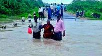 Road link to old Amaravati cut between Vijayawada and Old Amaravati on Friday.