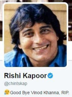Rishi Kapoor changes Twitter bio, profile pic to 'friend' Vinod