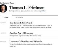 Thomas Friedman Distills the Essence of Good Column Writing