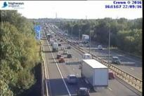 Traffic queuing on M1 in Derbyshire after crash